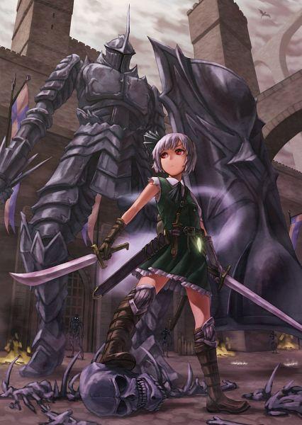 Tags: Anime, Kurione (Zassou), Touhou, Demon's Souls, Konpaku Youmu, Tower Knight, Green Vest, Mobile Wallpaper