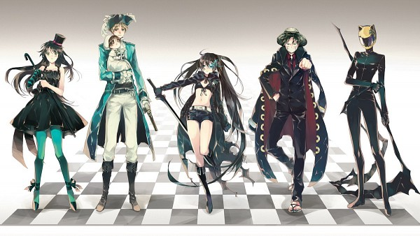 Tags: Anime, 10721 (artist), Axis Powers: Hetalia, ONE PIECE, K-ON!, DURARARA!!, Strong World, Black★Rock Shooter, Chibitalia, Monkey D. Luffy, Sturluson Celty, Akiyama Mio, Black★Rock Shooter (Character)