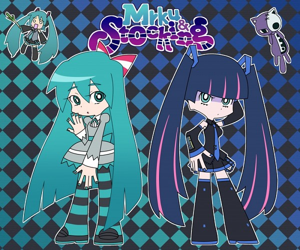 Tags: Anime, Pixiv Id 3374458, Panty and Stocking With Garterbelt, VOCALOID, Anarchy Stocking, Hatsune Miku, Honekoneko, Hachune Miku, Panty and Stocking with Garterbelt (Parody), Hatsune Miku (Cosplay), Aqua Nails, Anarchy Stocking (Cosplay), Pixiv