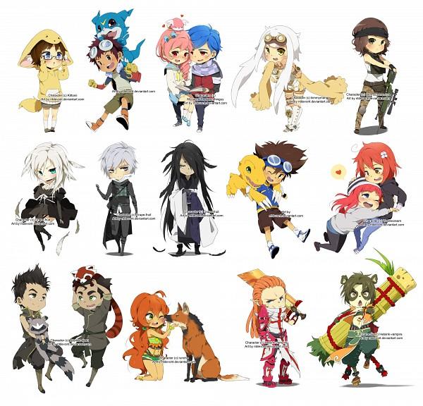 Tags: Anime, NTDevont, Avatar: The Legend of Korra, Digimon Adventure, Motomiya Daisuke, Bolin, Veemon, Yagami Taichi, Agumon, Dinosaur, Commission, Original, Fanart