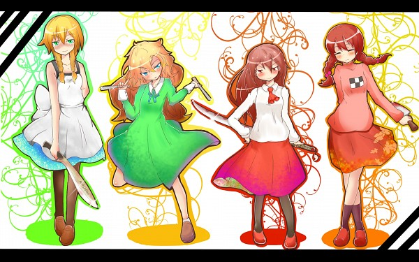 Tags: Anime, Pixiv Id 633532, Yume Nikki, Majo no Ie, Ib, Mary (Ib), Ib (Character), Viola (Majo no Ie), Madotsuki, Wallpaper