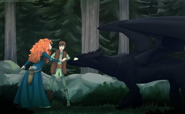 Tags: Anime, Hubedihubbe, Brave (Disney), How to Train Your Dragon, Hiccup Horrendous Haddock III, Toothless, Princess Mérida, Holding Wrist, deviantART, Dreamworks, Wallpaper, Fanart, Pixar