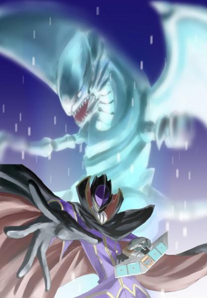 Tags: Anime, Ikuyoan, CODE GEASS: Hangyaku no Lelouch, Yu-Gi-Oh!, Zero (CODE GEASS), Lelouch Lamperouge, Blue-Eyes White Dragon, Mobile Wallpaper, Fanart
