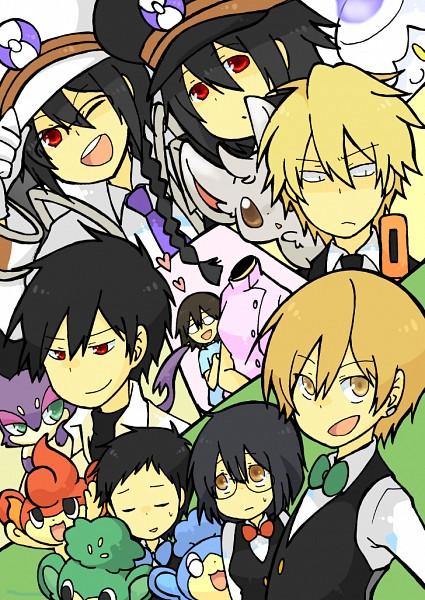 Tags: Anime, Pixiv Id 413831, DURARARA!!, Pokémon, Orihara Mairu, Pansear, Orihara Izaya, Minccino, Heiwajima Shizuo, Panpour, Sturluson Celty, Kishitani Shinra, Litwick