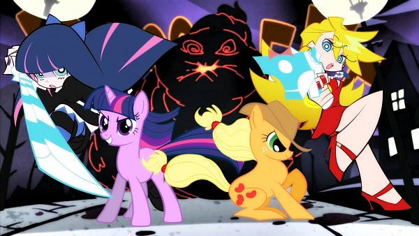Tags: Anime, Sakaki709, Panty and Stocking With Garterbelt, My Little Pony, Twilight Sparkle, Anarchy Stocking, Anarchy Panty, Applejack, Wallpaper, HD Wallpaper, Facebook Cover