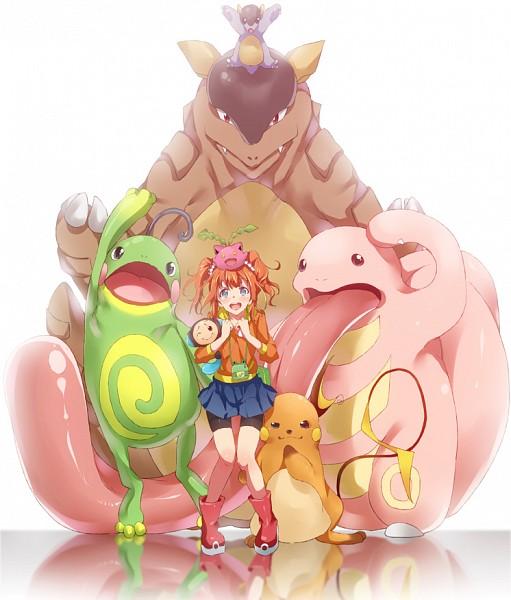 Tags: Anime, Ryouma (Galley), THE iDOLM@STER, Pokémon, Raichu, Kangaskhan, Takatsuki Yayoi, Lickitung, Politoed, Hoppip, Tympole, Fanart, Pixiv