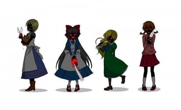 Tags: Anime, Pixiv Id 4880342, Ib, Mad Father, Majo no Ie, Yume Nikki, Madotsuki, Viola (Majo no Ie), Mary (Ib), Aya Dravis, Chainsaw, Unnaturally Black Skin, Pixiv