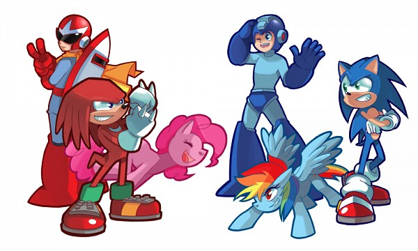 Tags: Anime, Sapphire1010, My Little Pony, Sonic the Hedgehog, Rockman, Blues (Rockman), Knuckles the Echidna, Rainbow Dash, RockMan (Character), Pinkie Pie, Sonic the Hedgehog (Character), Tomboy, Pony