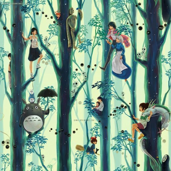 Tags: Anime, Qinni, Howl no Ugoku Shiro, Majo no Takkyuubin, Mononoke Hime, Gake no Ue no Ponyo, Tenkuu no Shiro Laputa, Sen to Chihiro no Kamikakushi, Mimi wo Sumaseba (Ghibli), Tonari no Totoro, Kiki (Majo no Takkyuubin), Totoro, Prince Ashitaka