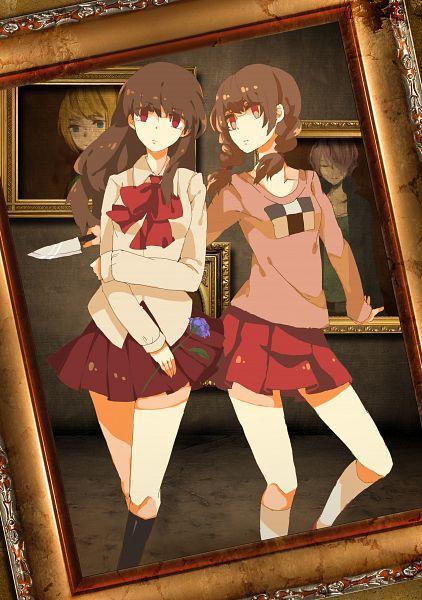 Tags: Anime, lemontea, Yume Nikki, Ib, Madotsuki, Ib (Character), Garry, Poniko, Painting (Object), Museum, Mobile Wallpaper, PNG Conversion