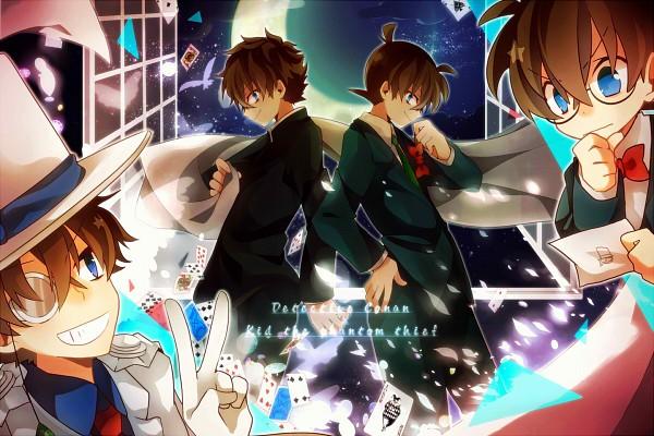 Tags: Anime, Aka Tonbo (Lililil), Meitantei Conan, Magic Kaito, Kudou Shinichi, Kaitou Kid, Edogawa Conan, Kuroba Kaito, Joker Card, 1200x800 Wallpaper, White Bird, Fanart, Fanart From Pixiv