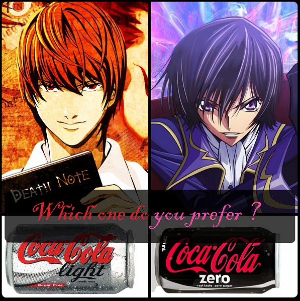Tags: Anime, Zerochan923600, DEATH NOTE, CODE GEASS: Hangyaku no Lelouch, Yagami Raito, Lelouch Lamperouge, Death Note (Object), Coca Cola, Canned Drink, Choose One!, Demotivational Poster