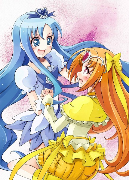 Tags: Anime, Satogo, Suite Precure♪, Heartcatch Precure!, Cure Muse, Shirabe Ako, Kurumi Erika, Cure Marine, Yellow Skirt, Flower Skirt, Yellow Footwear, Puffy Skirt, Pixiv