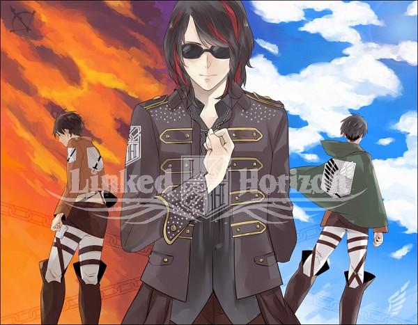 Tags: Anime, Pixiv Id 332680, Attack on Titan, Levi Ackerman, Eren Jaeger, Revo (Sound Horizon), Red Sky, Creator Connection, Pixiv, Linked Horizon, Sound Horizon
