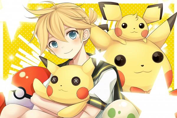 Tags: Anime, Pixiv Id 7376105, VOCALOID, Pokémon, Kagamine Len, Pichu, Pikachu