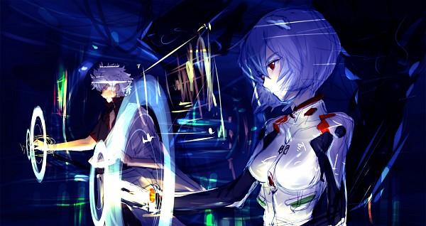 Tags: Anime, Hayama Yuujirou, Neon Genesis Evangelion, Gintama, Sakata Gintoki, Ayanami Rei, Pacific Rim (Parody), Movie Parody, Fanart From Pixiv, Facebook Cover, Pixiv, Fanart, Wallpaper
