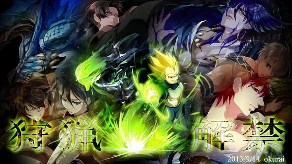 Tags: Anime, Pixiv Id 3928683, MAGI: The Labyrinth of Magic, DRAGON BALL, Attack on Titan, Monster Hunter Series, Vegeta, Ja'far, Mikasa Ackerman, Zinogre, Eren Jaeger, Masrur, Rathalos
