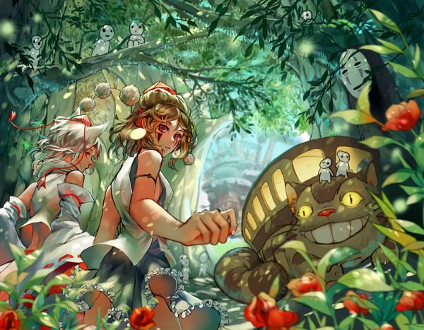 Tags: Anime, Iya-chen, Tonari no Totoro, Howl no Ugoku Shiro, Mononoke Hime, Sen to Chihiro no Kamikakushi, Touhou, Cat Bus, Kodama (Spirit), Shameimaru Aya, Inubashiri Momiji, Kaonashi, San (Mononoke Hime) (Cosplay)