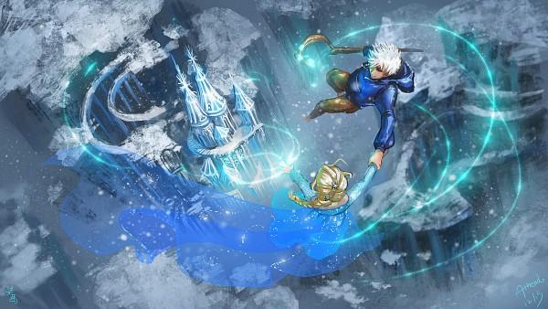 Tags: Anime, Pixiv Id 2963912, Athena-erocith, Rise of the Guardians, Frozen (Disney), Elsa the Snow Queen, Jack Frost, Wallpaper, HD Wallpaper, Facebook Cover, Disney, Jelsa