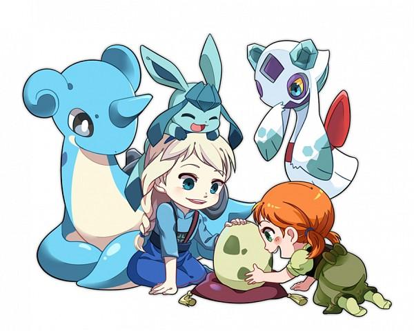 Tags: Anime, Ferythekid, Frozen (Disney), Pokémon, Princess Anna of Arendelle, Elsa the Snow Queen, Froslass, Lapras, Glaceon, Disney, Fanart, Fanart From Pixiv, Pixiv