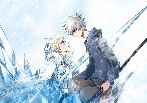 Tags: Anime, Pixiv Id 3206920, Frozen (Disney), Rise of the Guardians, Elsa the Snow Queen, Jack Frost, Blue Hoodie, Dreamworks, Fanart, Fanart From Pixiv, Disney, Pixiv, Jelsa
