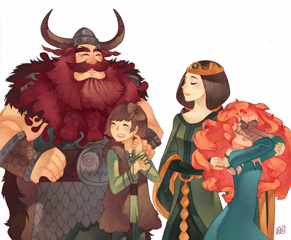 Tags: Anime, Graphitedoll, How to Train Your Dragon, Brave (Disney), Stoick The Vast, Queen Elinor, Princess Mérida, Hiccup Horrendous Haddock III, Covering Face, Viking, Fanart, Dreamworks, Pixar