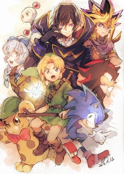 Tags: Anime, Pixiv Id 1187004, Full Metal Panic!, CODE GEASS: Hangyaku no Lelouch, Zelda no Densetsu, Yu-Gi-Oh! Duel Monsters, Yu-Gi-Oh!, Sonic the Hedgehog, Yami Yugi, Link, Sonic the Hedgehog (Character), Pharaoh Atem, Bunta-kun