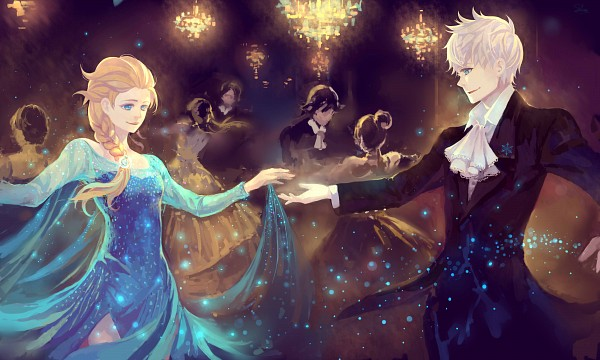 Tags: Anime, Pixiv Id 7586858, Frozen (Disney), Rise of the Guardians, Jack Frost, Elsa the Snow Queen, Wallpaper, Jelsa