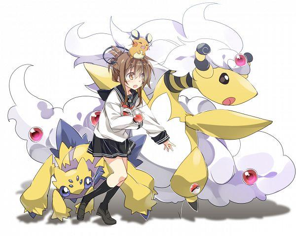 Tags: Anime, MtU, Kantai Collection, Pokémon, Dedenne, Ampharos, Inazuma (Kantai Collection), Galvantula, Wallpaper