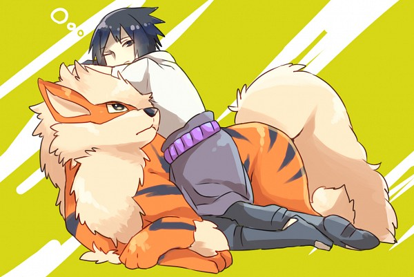 Tags: Anime, Pixiv Id 4519096, Pokémon, NARUTO, Uchiha Sasuke, Arcanine, Fanart, Pixiv, Fanart From Pixiv