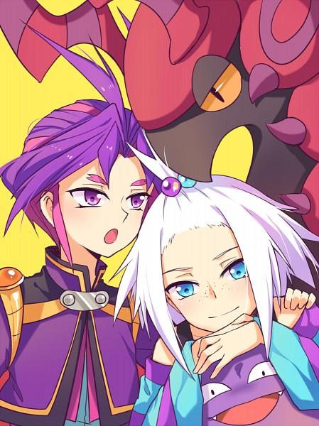 Tags: Anime, poppy (Pixiv3596054), Pokémon, Yu-Gi-Oh!, Yu-Gi-Oh! ARC-V, Homika, Yuuri (Yu-Gi-Oh! ARC-V), Scolipede, Koffing, Pixiv, Mobile Wallpaper, Fanart From Pixiv, PNG Conversion