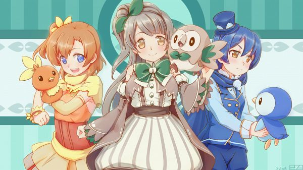 Tags: Anime, Pixiv Id 2795653, Love Live!, Pokémon, Kousaka Honoka, Rowlet, Torchic, Sonoda Umi, Piplup, Minami Kotori, Wallpaper, Facebook Cover