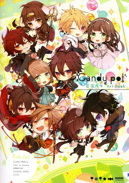Tags: Anime, Natsume Uta, Otomate, Candy pot: Natsume Uta Art Book, Collar×Malice, CLOCK ZERO ~Shuuen no Ichibyou~, Toki no Kizuna, S.Y.K, AMNESIA, Chitose (Toki no Kizuna), Gokuu, Genjou (S.Y.K), Heroine (AMNESIA)