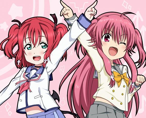 Tags: Anime, Pixiv Id 11941946, Love Live! Sunshine!!, Angel Beats!, Yui (Angel Beats!), Kurosawa Ruby, Pixiv, Fanart, Fanart From Pixiv