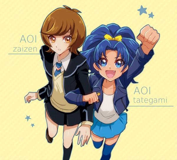 Tags: Anime, Kaminari Jin, Yu-Gi-Oh! VRAINS, Kirakira☆Precure a la Mode, Yu-Gi-Oh!, Zaizen Aoi, Tategami Aoi, >:D, Yellow Outerwear, PNG Conversion, Fanart, Twitter