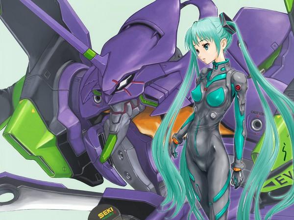 Tags: Anime, Neon Genesis Evangelion, VOCALOID, Hatsune Miku, Eva 01, Latex, Ayanami Rei (Cosplay), Neon Genesis Evangelion (Cosplay), Wallpaper, Artist Request