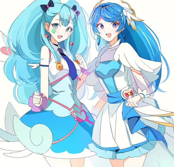 Tags: Anime, joman, HUGtto! Precure, Yu-Gi-Oh! VRAINS, Yu-Gi-Oh!, Blue Angel, Cure Ange, Zaizen Aoi, Yakushiji Saaya, Blue Angel (Cosplay), Heart Print, Cure Ange (Cosplay), Fanart