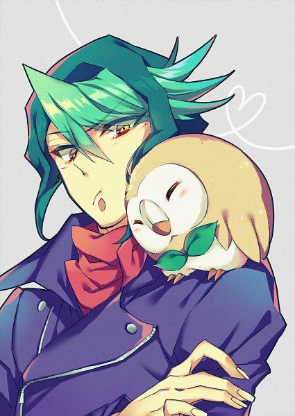 Tags: Anime, Ryou*, Yu-Gi-Oh! ARC-V, Pokémon, Yu-Gi-Oh!, Kurosaki Shun, Rowlet, Bird on Shoulder, Pixiv, Fanart, Fanart From Pixiv