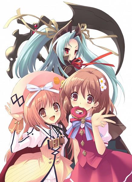 Tags: Anime, Ito Noizi, Flyable Heart, Nanatsuiro Drops, Inaba Yui, Akihime Sumomo, Prima Pramu, Mobile Wallpaper