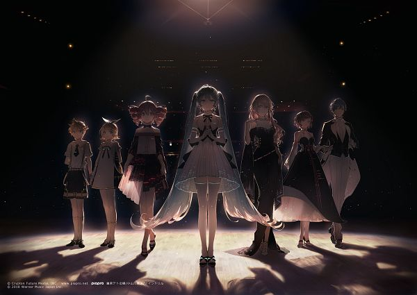 Tags: Anime, Rella, UTAU, VOCALOID, Kagamine Len, Kasane Teto, Kagamine Rin, MEIKO (VOCALOID), Megurine Luka, Hatsune Miku, KAITO, Backlight, Official Art