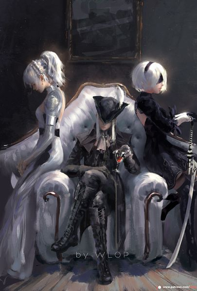 Tags: Anime, wlop, NieR: Automata, Final Fantasy XV, Bloodborne: The Old Hunters, Bloodborne, Lunafreya Nox Fleuret, Lady Maria of the Astral Clocktower, YoRHa No.2 Type B, Hat Feather, Fanart From Pixiv, Pixiv, Fanart