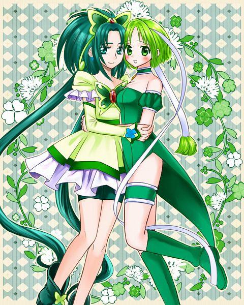 Tags: Anime, Pixiv Id 1361637, Tokyo Mew Mew, Yes! Precure 5, Mew Lettuce, Akimoto Komachi, Cure Mint, Midorikawa Lettuce, Green Shorts, Green Footwear, Fanart, Fanart From Pixiv, Pixiv