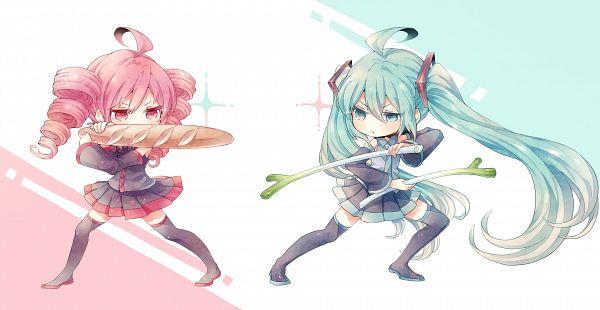 Tags: Anime, Niwako, UTAU, VOCALOID, Kasane Teto, Hatsune Miku, Fanart, Pixiv, Fanart From Pixiv