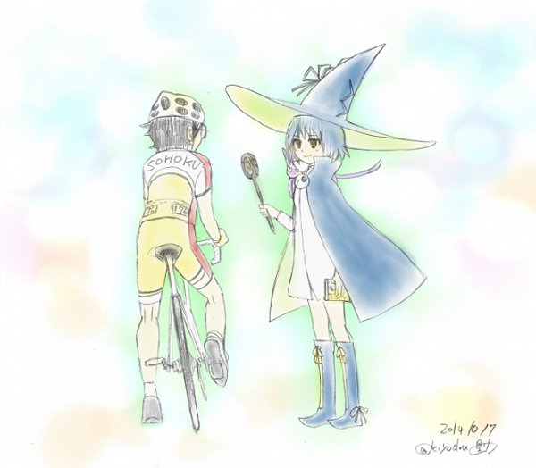 Tags: Anime, Yowamushi Pedal, Majimoji Rurumo, Onoda Sakamichi, Chiro (Majimoji Rurumo), Maji Mojiruka Rurumo, Witch Costume, Pixiv, Fanart, Fanart From Pixiv