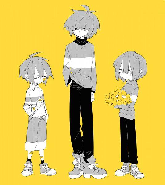 Tags: Anime, higa423, Deltarune, Undertale, Kris (Deltarune), Chara (Undertale), Frisk, Fanart From Pixiv, Pixiv, Fanart