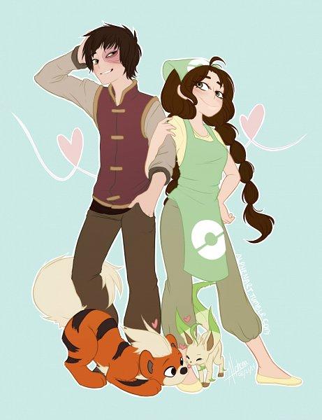 Tags: Anime, Avatar: The Last Airbender, Pokémon, Zuko, Growlithe, Jin (Avatar: The Last Airbender), Leafeon, Pokémon (Cosplay), Burnt, Alphenart, Fanart, Jinko