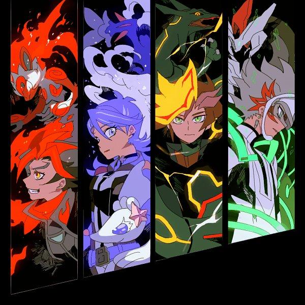 Tags: Anime, Shilla P, Yu-Gi-Oh! VRAINS, Pokémon, Yu-Gi-Oh!, Kougami Ryouken, Fujiki Yuusaku, Zekrom, Blue Girl, Revolver (Yu-Gi-Oh! VRAINS), Infernape, Primarina, Soulburner