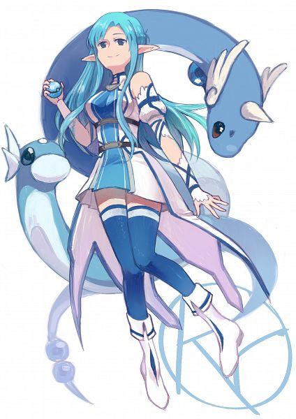 Tags: Anime, Rutiwa, Sword Art Online, Pokémon, Dratini, Asuna (ALO), Dragonair, Yuuki Asuna, Fanart, Pixiv