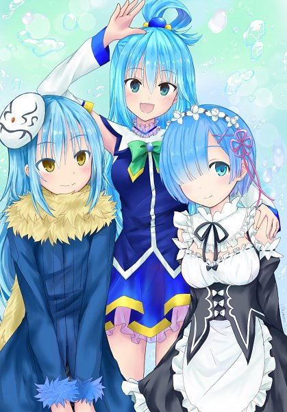 Tags: Anime, Pixiv Id 998961, Kono Subarashii Sekai ni Shukufuku wo!, Tensei Shitara Slime Datta Ken, Re:Zero Kara Hajimeru Isekai Seikatsu, Rimuru Tempest, Rem (Re:Zero), Aqua (KonoSuba)