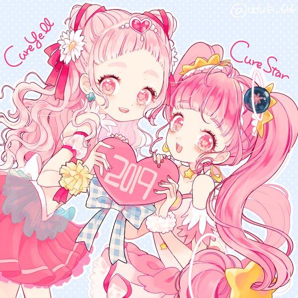 Tags: Anime, Uduki Shi, HUGtto! Precure, Star☆Twinkle Precure, Precure All Stars, Nono Hana, Cure Yell, Hoshina Hikaru, Cure Star, Color Connection, Twitter, Fanart